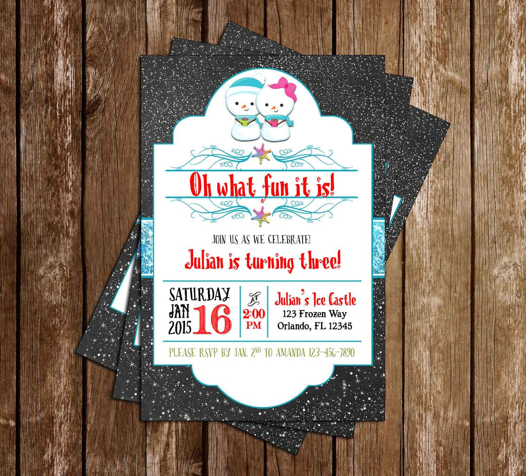 Oh What Fun - Winter - Birthday Invitation Printable