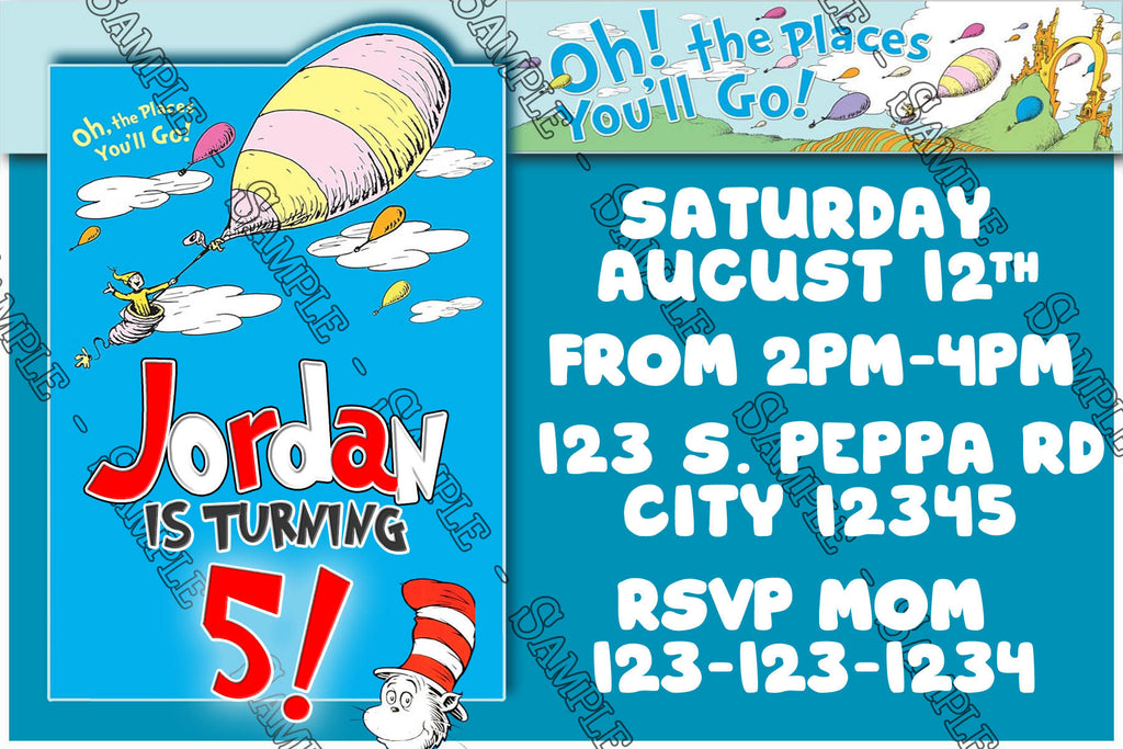 Dr Seuss - Oh The Places You'll Go - Blue - Birthday Invitation