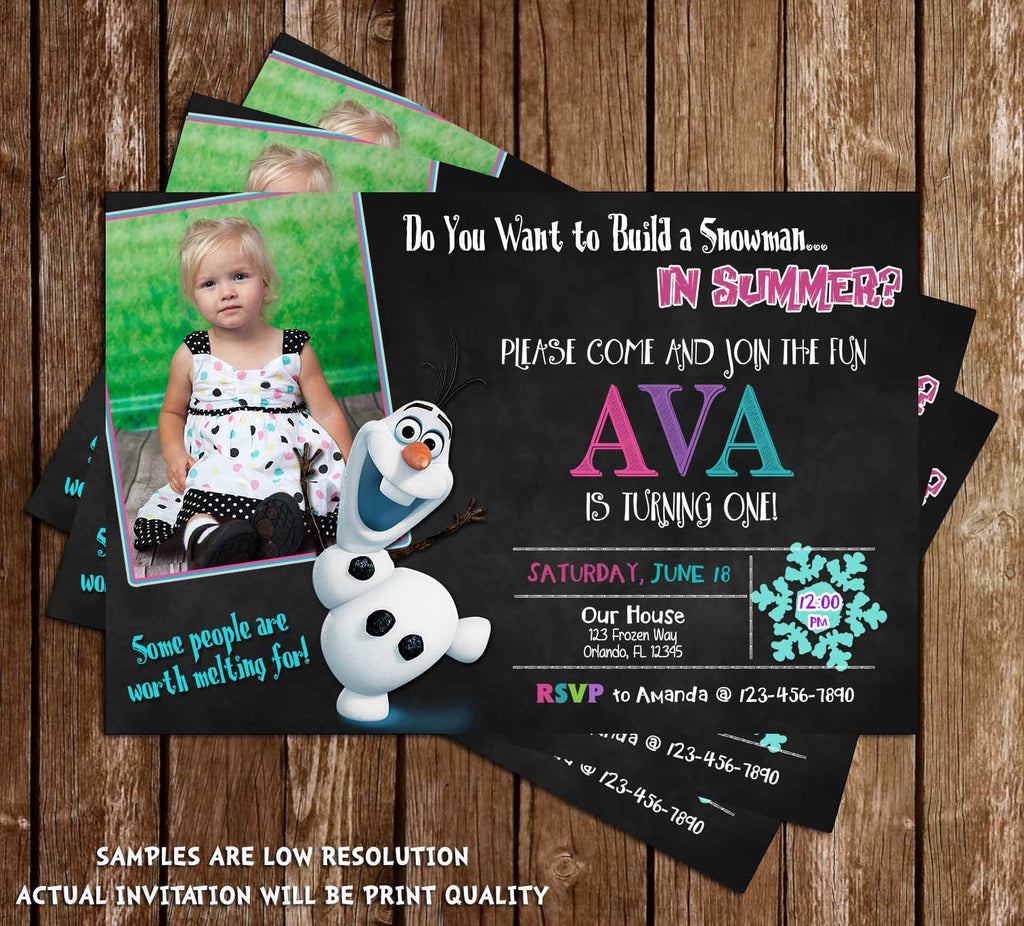 Olaf Chalkboard Frozen Pool Party Birthday Party Invitation