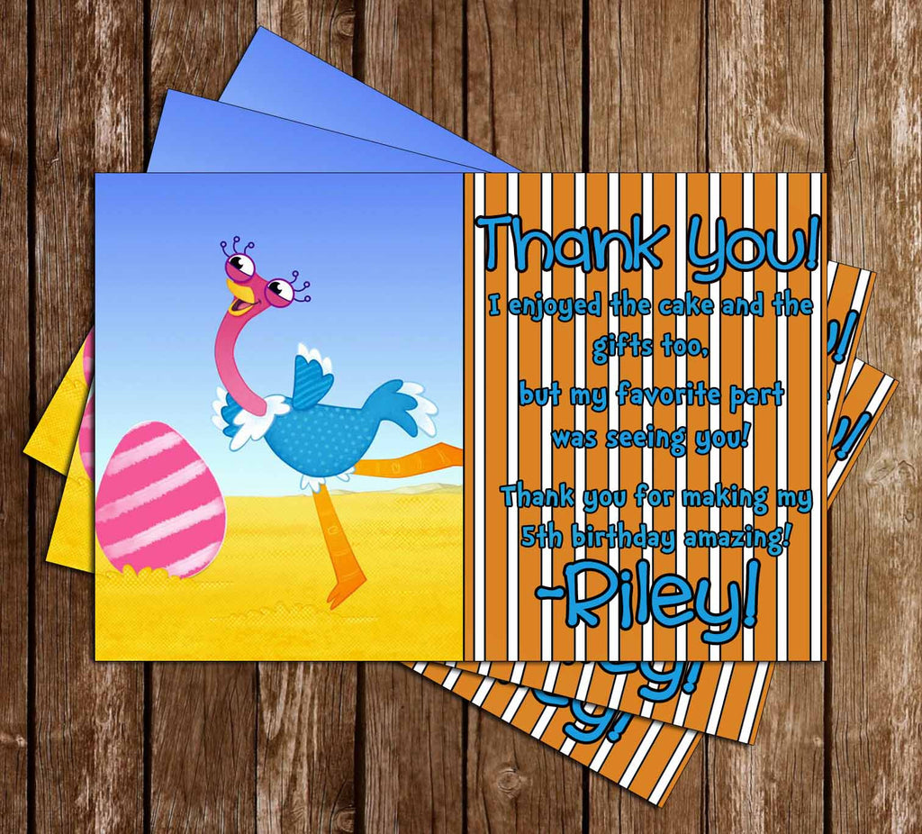 Olive the Ostrich Birthday Thank You Card