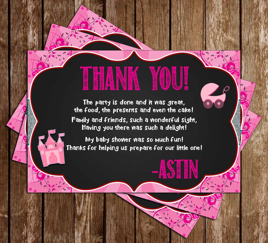 Once Upon a Time - Princess - Baby Shower - Thank You Card