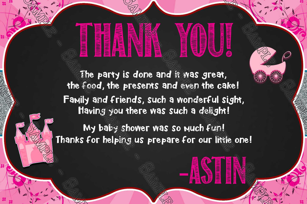 Once Upon A Time   Princess   Baby Shower   Thank You Card