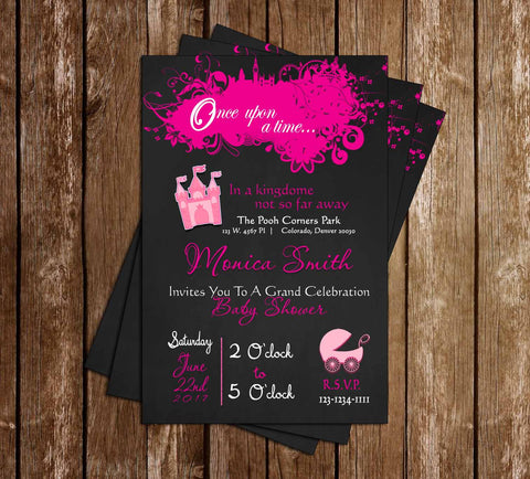 Once Upon a Time - Princess - Baby Shower - Invitation