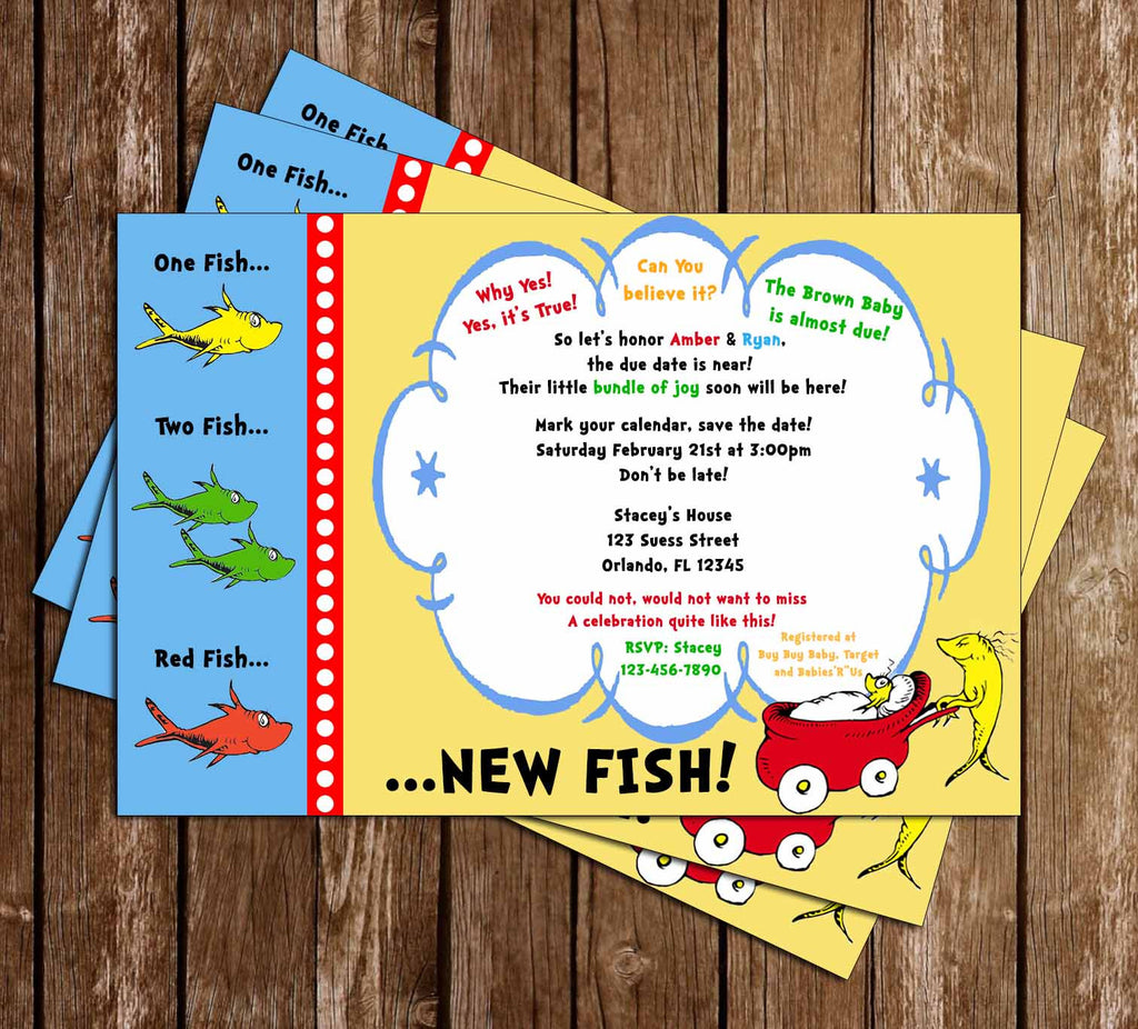 Novel concept designs dr seuss one fish two fish baby shower dr seuss one fish two fish baby shower invitation filmwisefo Image collections