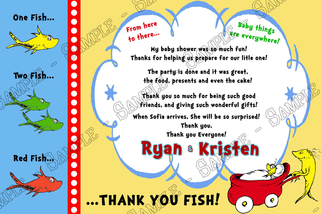 Novel Concept Designs Dr Seuss One Fish Two Fish Baby Shower – Baby Shower Thank You Notes
