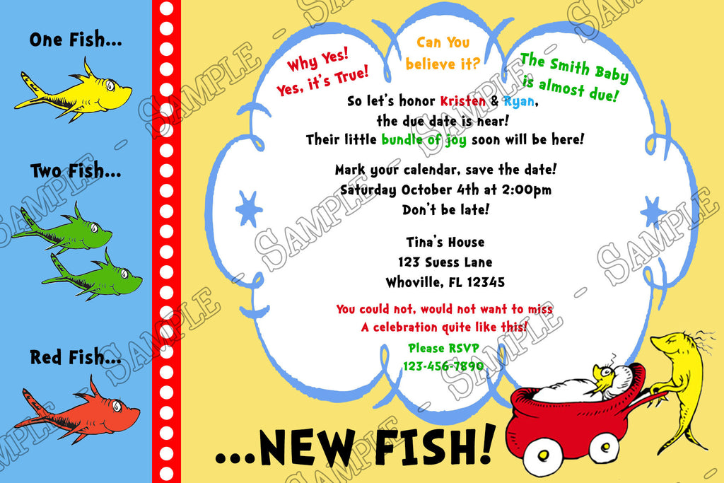 novel concept designs - dr seuss one fish - two fish baby shower, Baby shower invitations