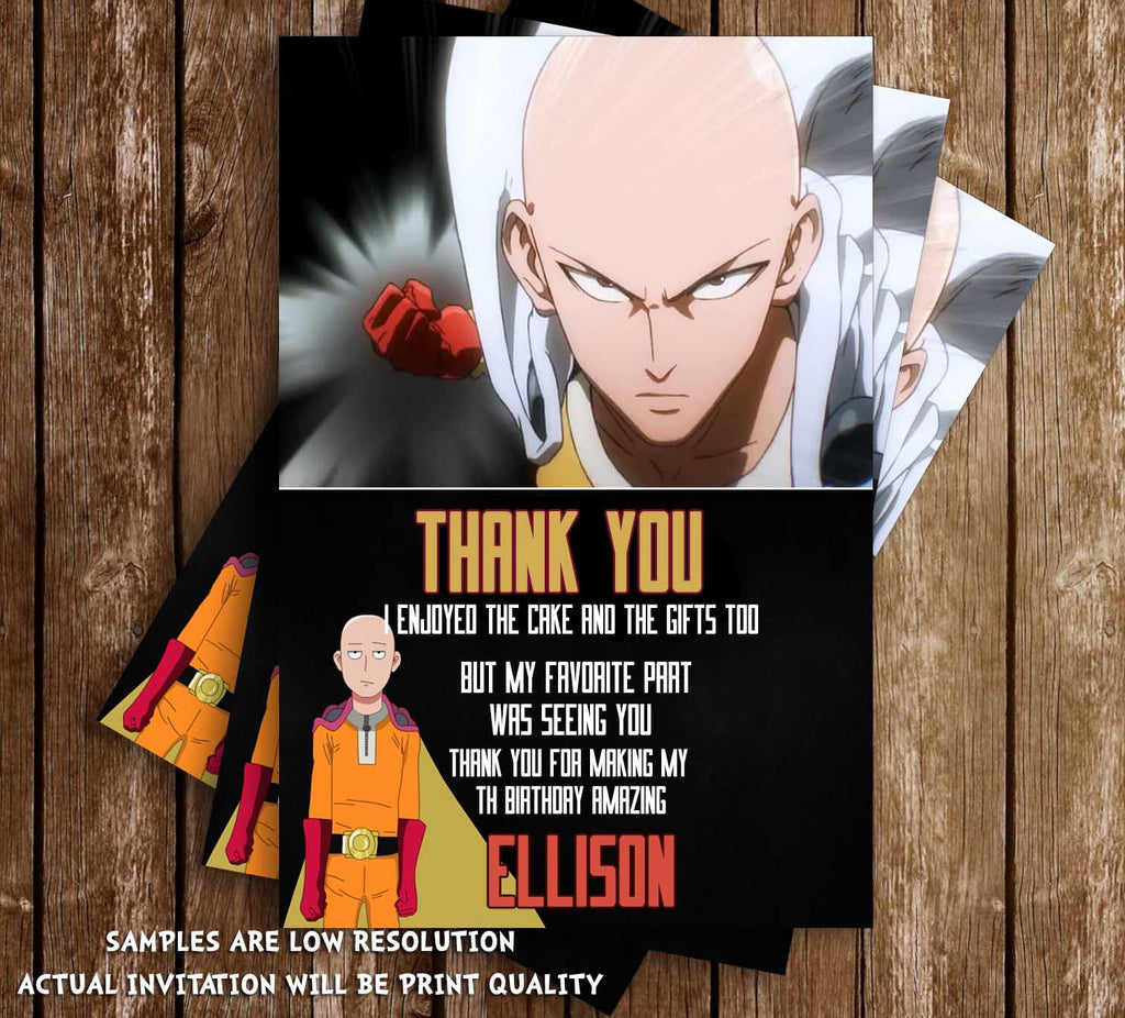 Novel Concept Designs One Punch Man Anime Birthday Thank You Card
