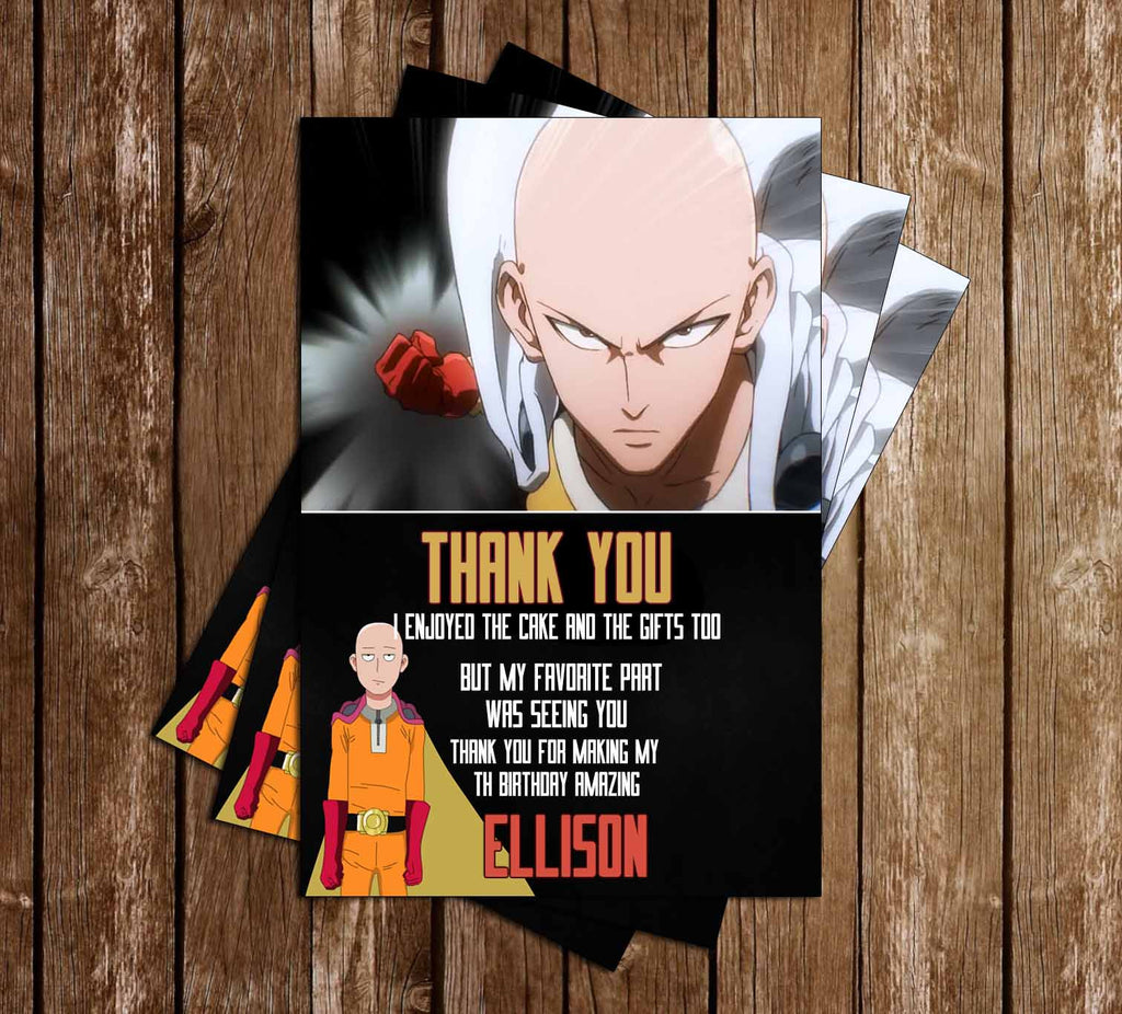 One Punch Man Anime Birthday Thank You Card