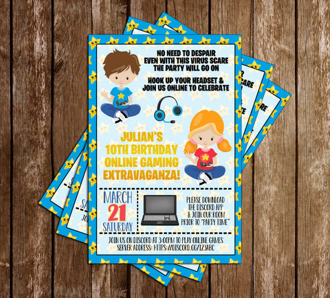 Virtual - Gamer - Birthday Party - Invitation