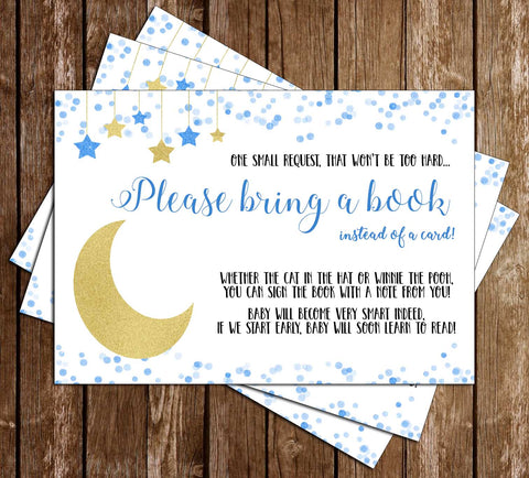 Over the Moon - Baby Boy Baby Shower - Bring A Book Insert