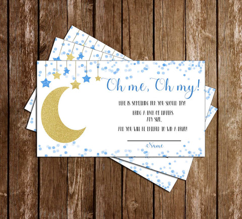 Over the Moon - Baby Boy Baby Shower - Diaper Raffle Tickets
