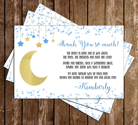 Over the Moon - Baby Boy Baby Shower - Thank You Card