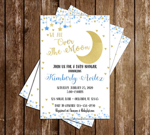 Over the Moon - Baby Boy Baby Shower - Invitation