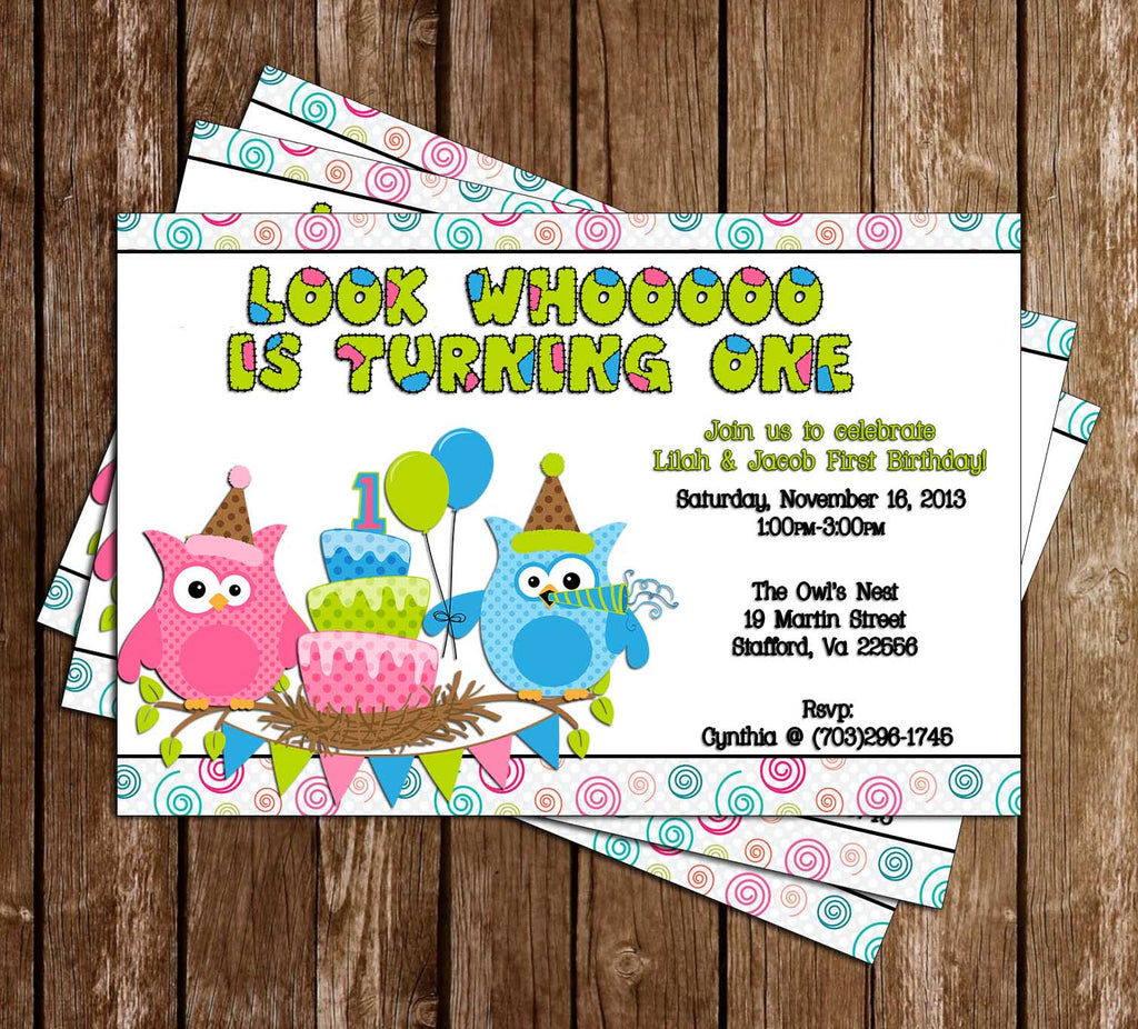 Patchwork Owl Show Birthday Invitation