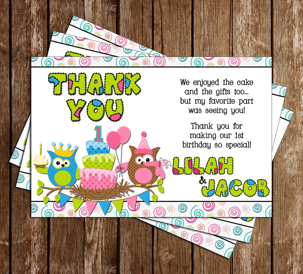 Patchwork Owl Birthday Thank You Card