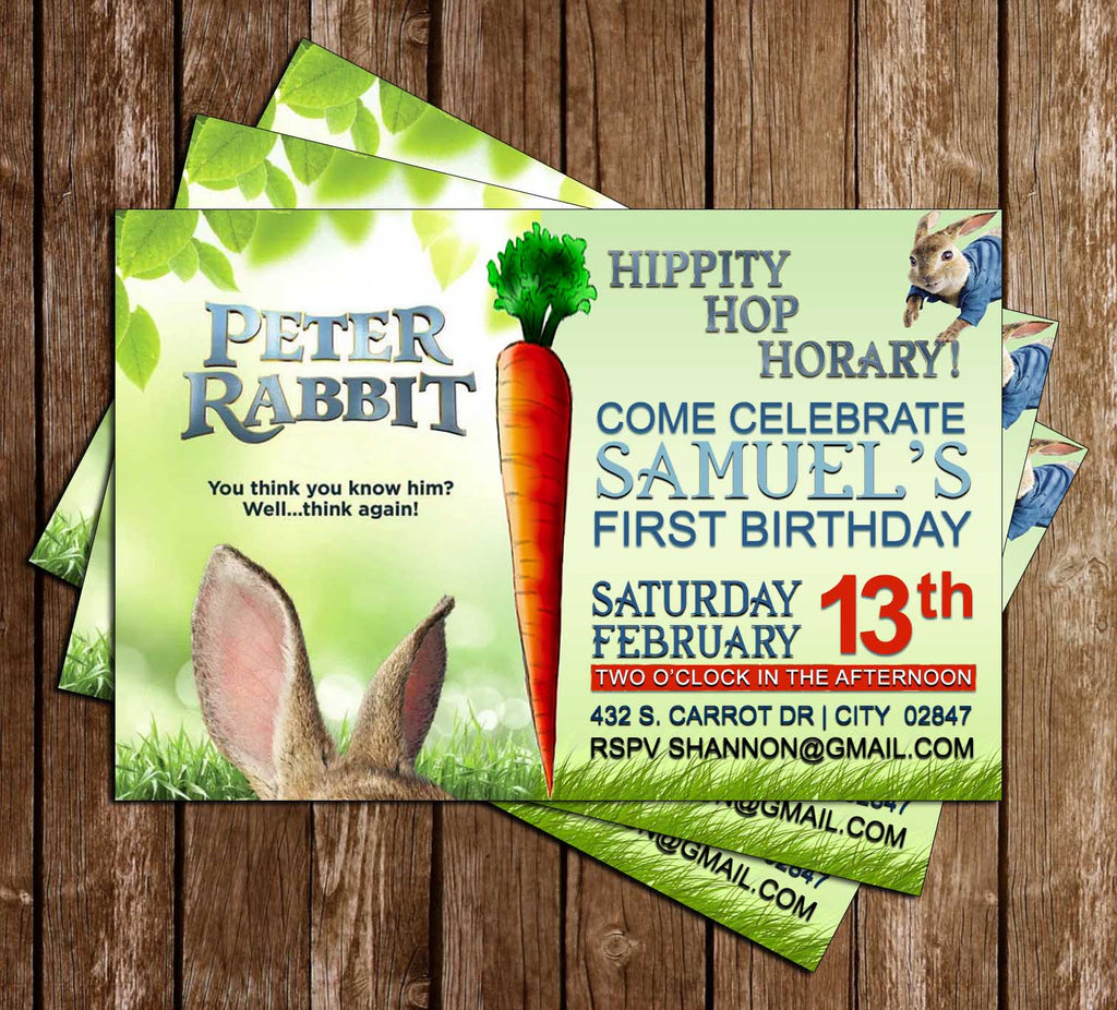 Novel Concept Designs Peter Rabbit Movie Birthday Invitation