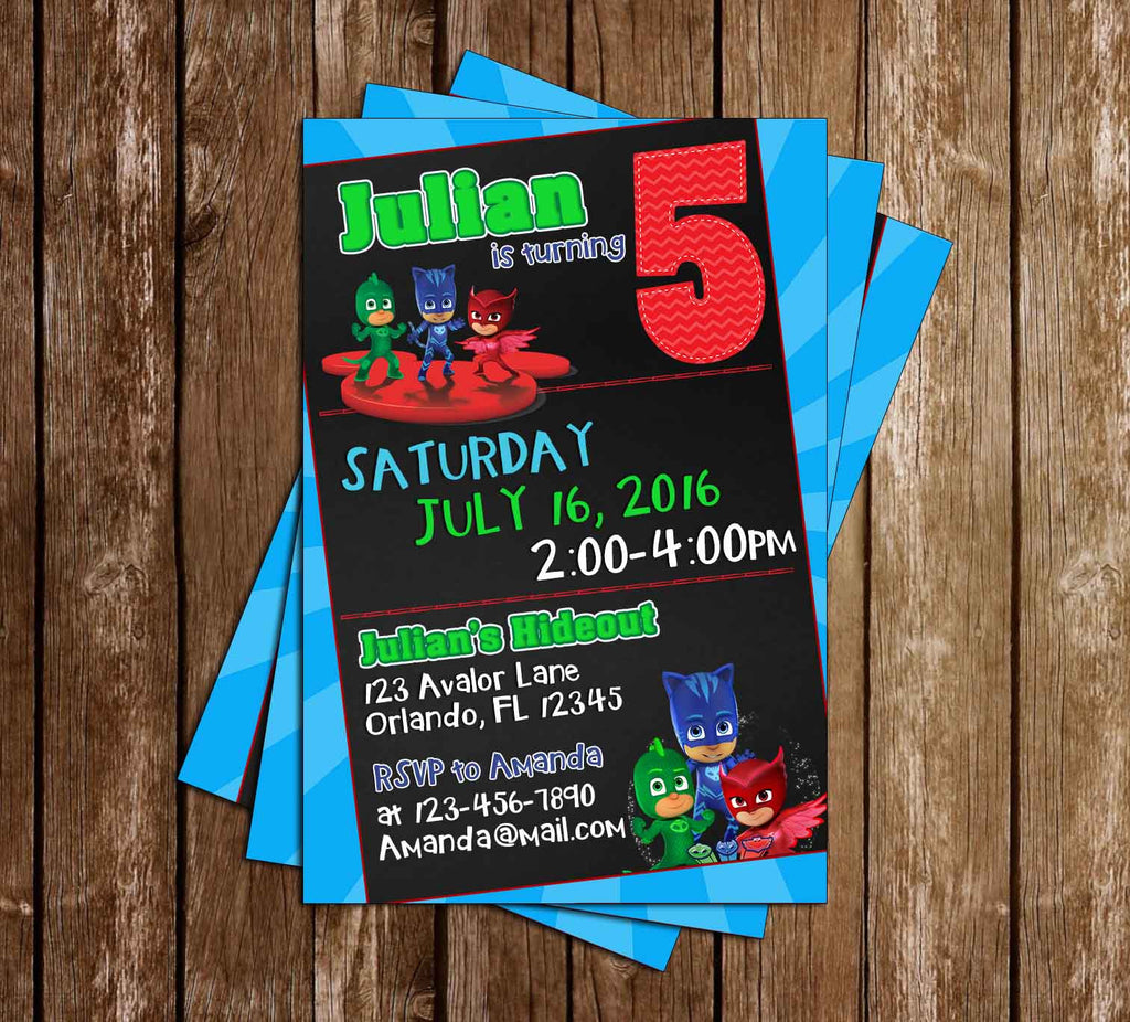PJ Masks - Superhero - Birthday Invitation