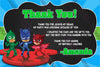 PJ Masks - Superhero - Birthday Thank You Card