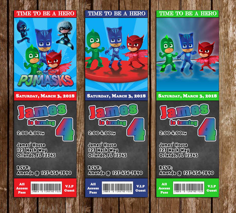 PJ Masks - Superhero - Ticket - Birthday Invitation