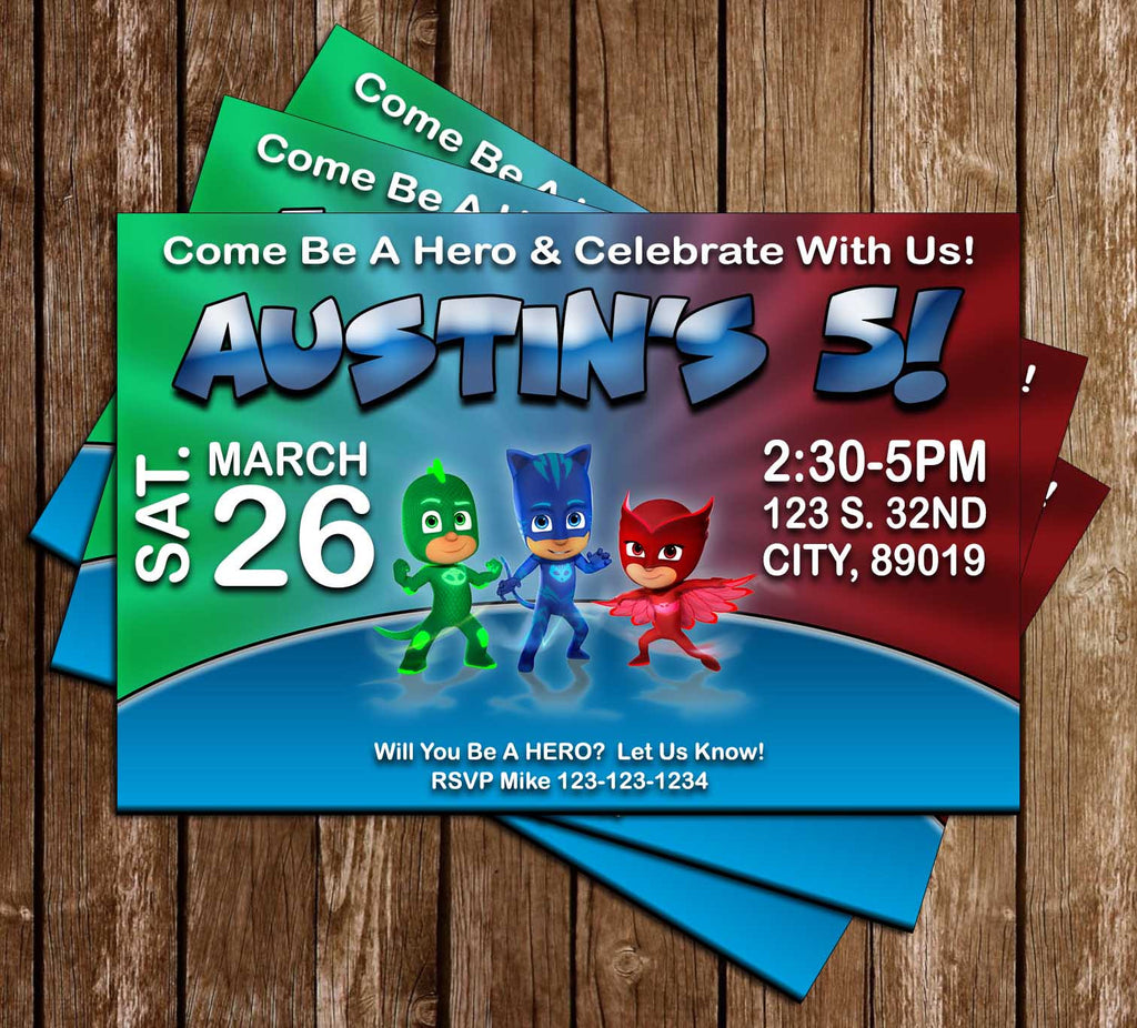 PJ Masks - Disney JR - Superhero - Red - Birthday Invitation