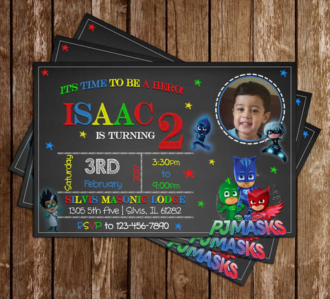 PJ Masks - Superhero - Chalk Photo - Birthday Invitation