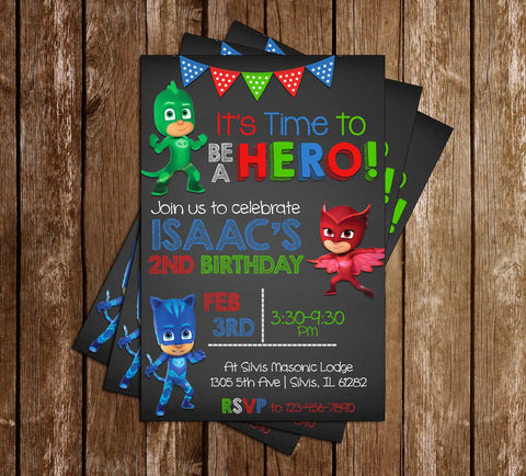 PJ Masks - Superhero - Photo - Birthday Invitation