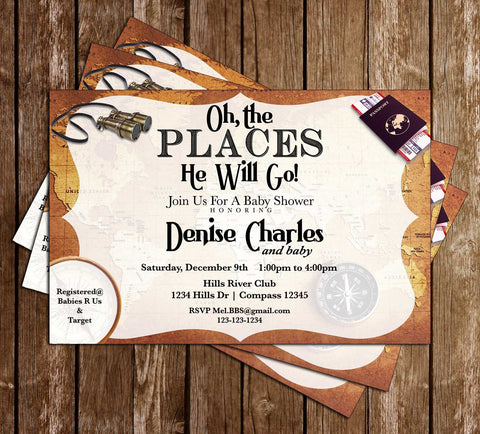 Oh The Places He'll Go - Maps - Baby Shower - Invitations