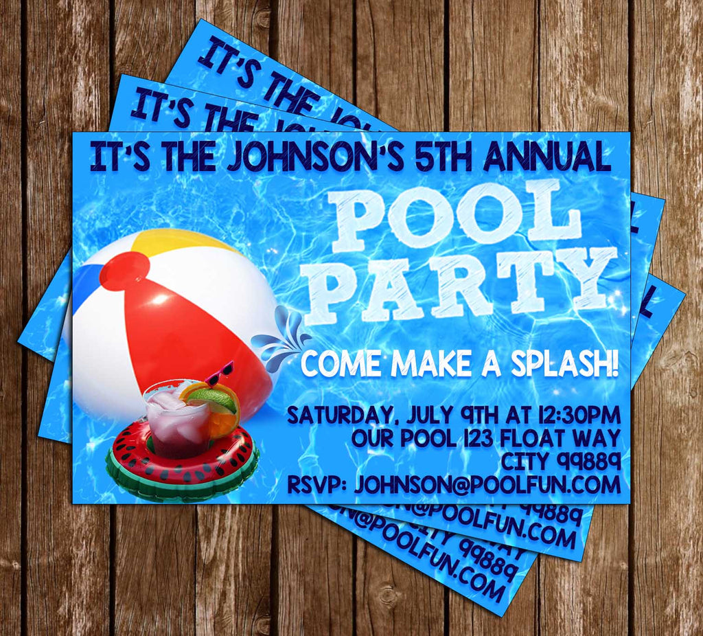 Pool Party - Beach Ball - Birthday Party - Invitation