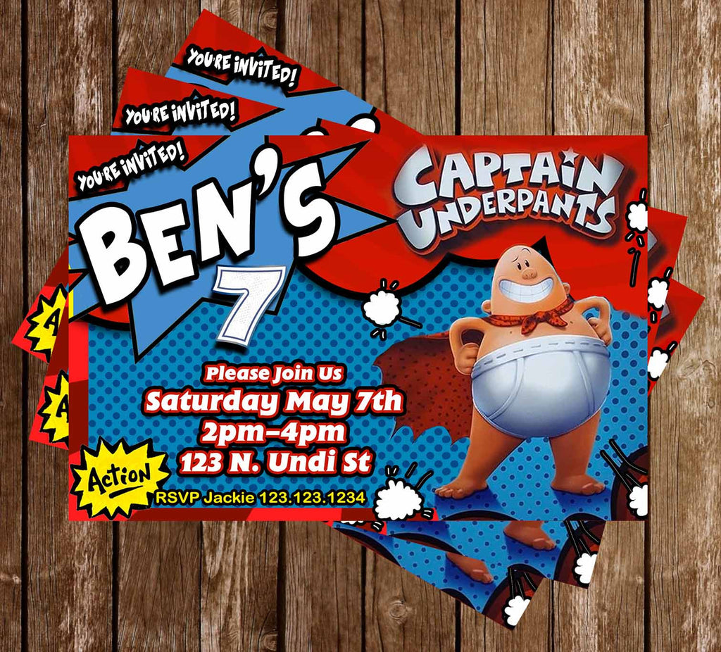 Captain Underpants - Book Party - Birthday Party - Invitations