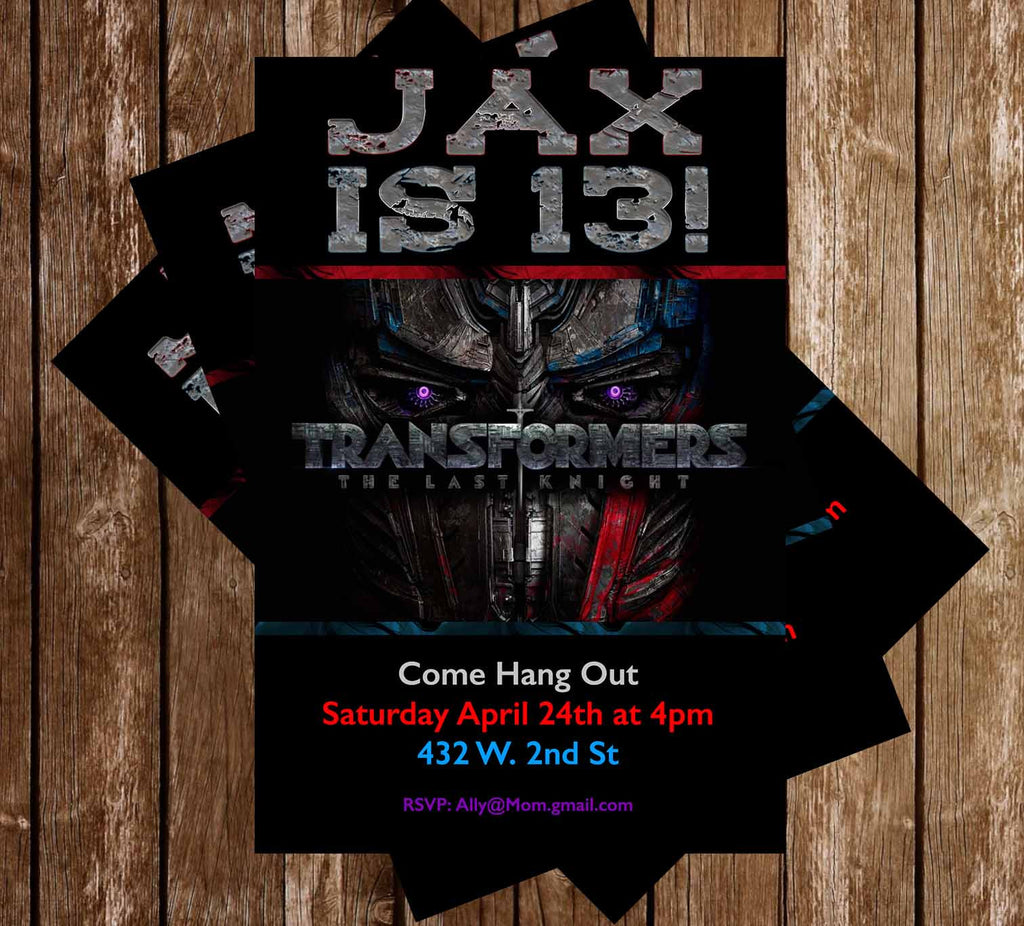 Transformers - The Last Knight - Birthday Invitation