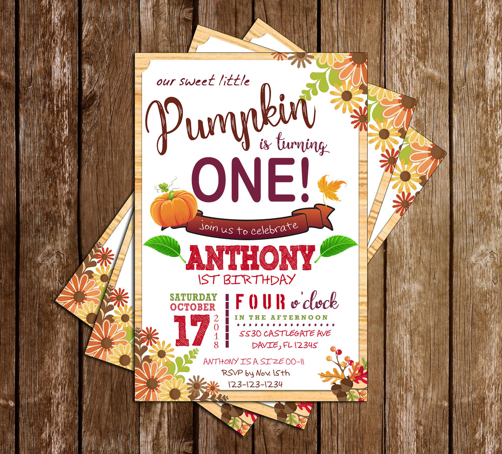 Fall - Our Little Pumpkin - Birthday Party - Invitation