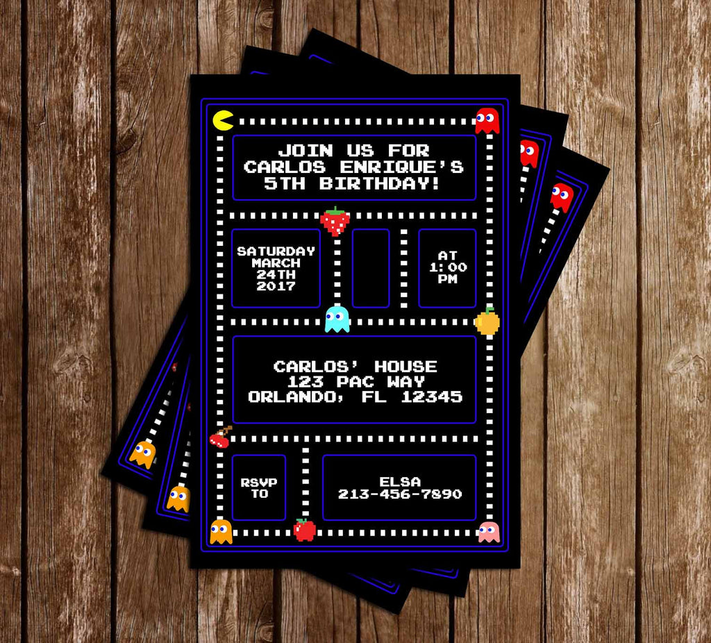 Pac-Man Birthday Party Invitation