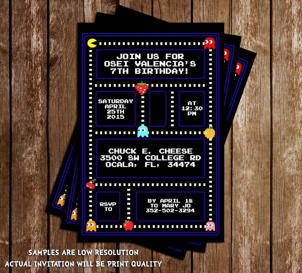 Novel Concept Designs Classic Pac Man Birthday Party Invitation