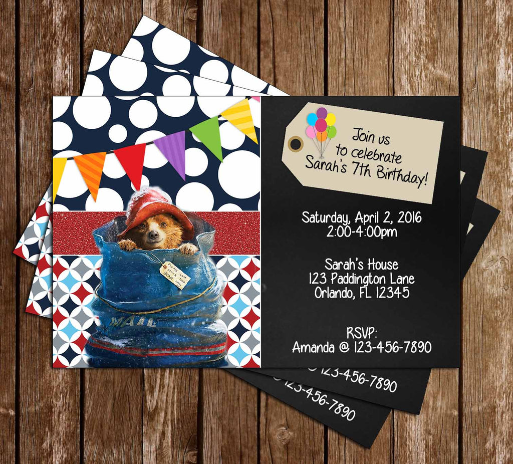 paddington bear movie birthday party invitation - Movie Birthday Party Invitations