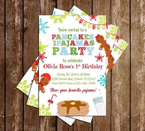 Pancakes and Pajamas - Birthday - Party Invitation