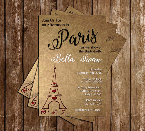 Paris - Vintage - Bridal Shower - Invitation