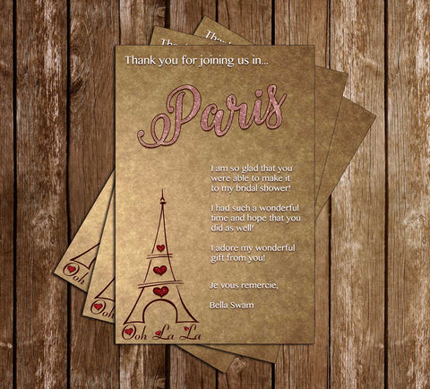 Paris - Vintage - Bridal Shower - Thank You Card