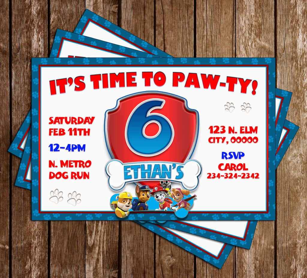 Time to PAW-TY - PAW Patrol - Blue - Nick Jr - Birthday Party Invitations