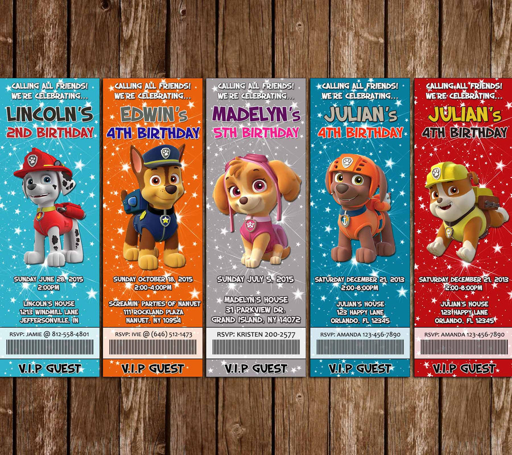 Novel concept designs paw patrol birthday party ticket invitations for Paw patrol invitation ideas