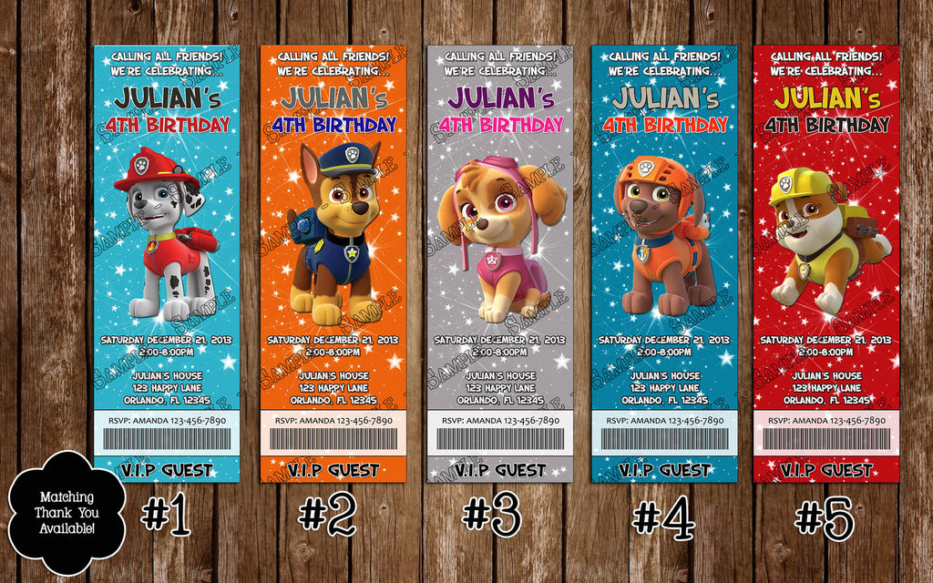Novel Concept Designs PAW Patrol Nick Jr Birthday Party – Party Ticket Invitations