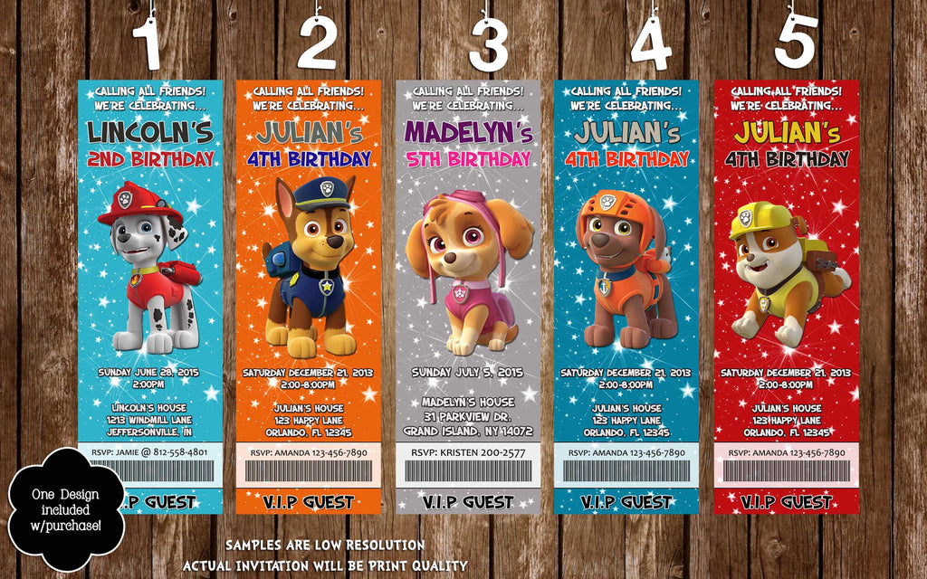 Novel Concept Designs - Paw Patrol Birthday Party Ticket Invitations