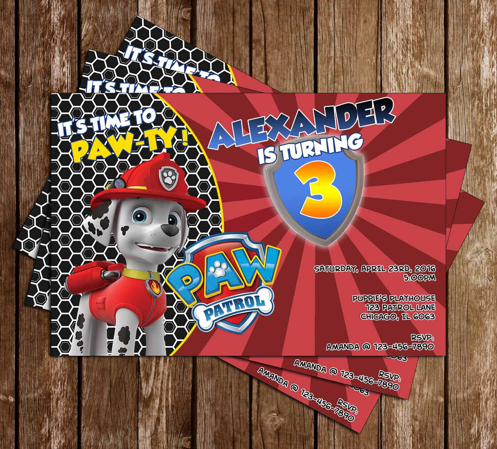 Paw Patrol - Let's Paw-ty - Marshall -  Birthday Party Invitations