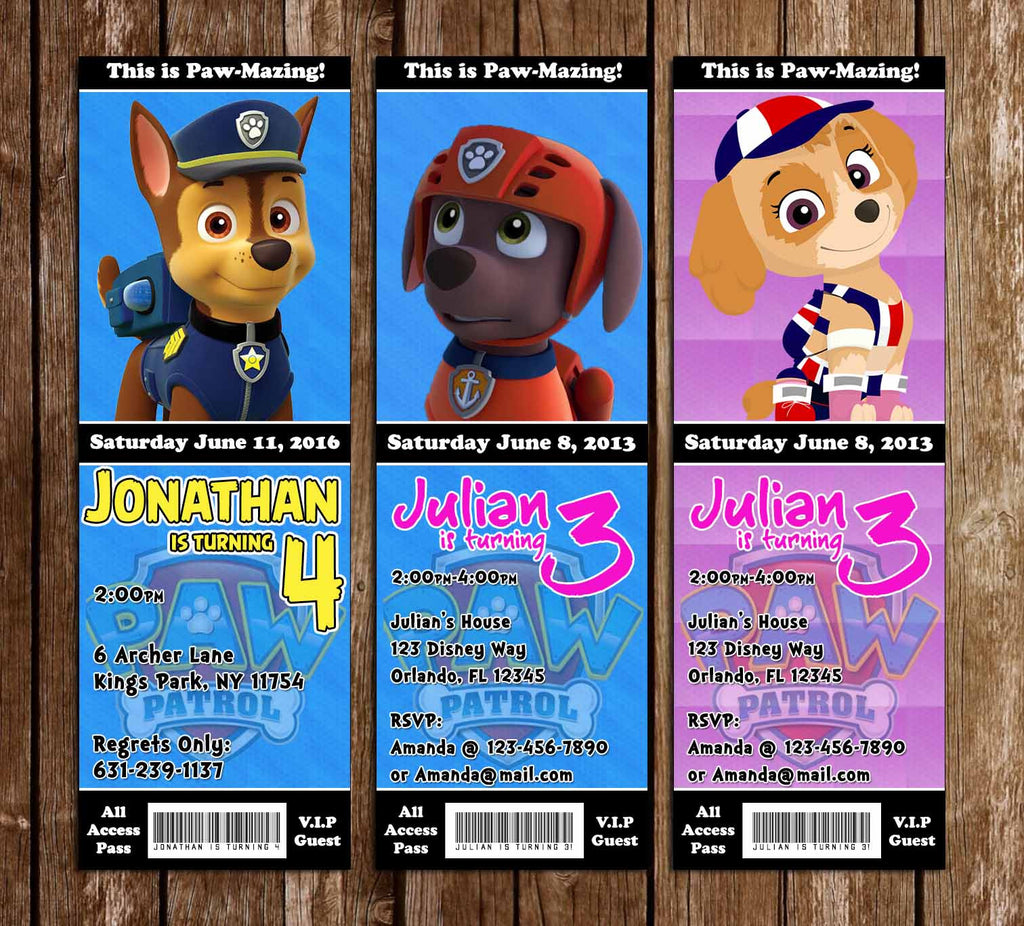 Novel concept designs paw patrol nick jr birthday party ticket paw patrol nick jr birthday party ticket invitations filmwisefo