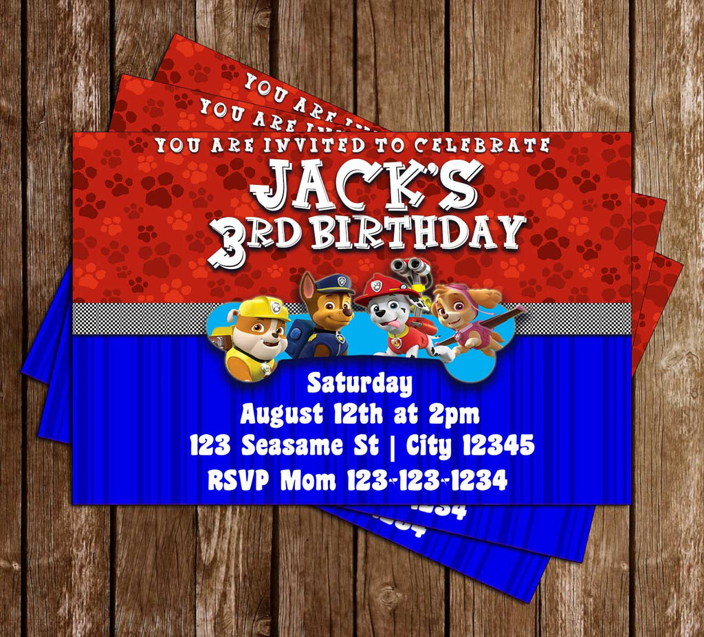 Nick Jr - PAW Patrol - Bone - Birthday Party Invitations