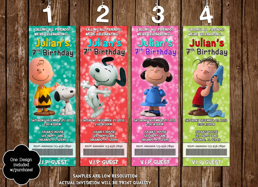 Novel Concept Designs  Peanuts Movie Birthday Party Ticket Invitation