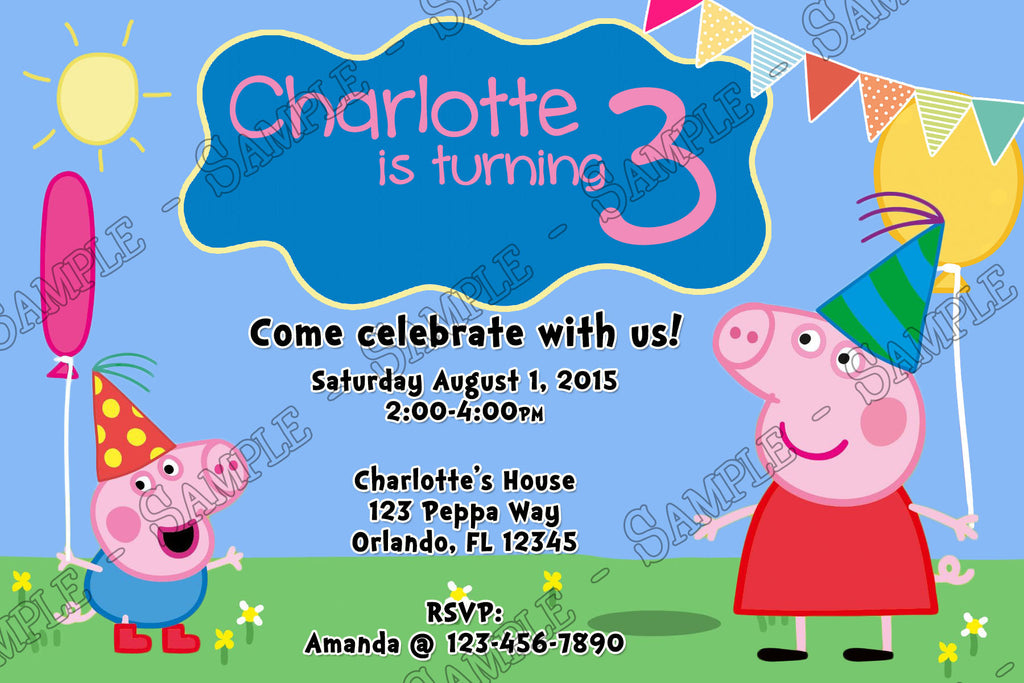 novel concept designs peppa pig balloon birthday party invitation