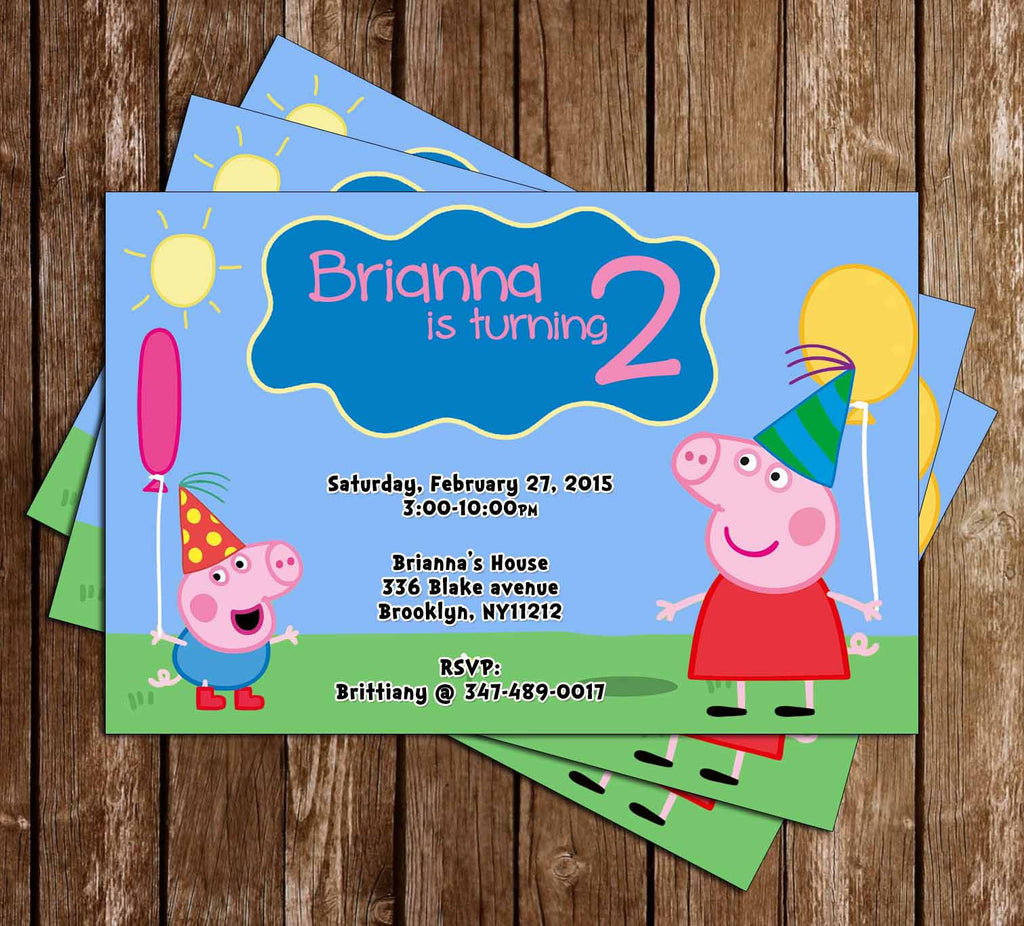 Peppa Pig Balloon Birthday Party Invitation