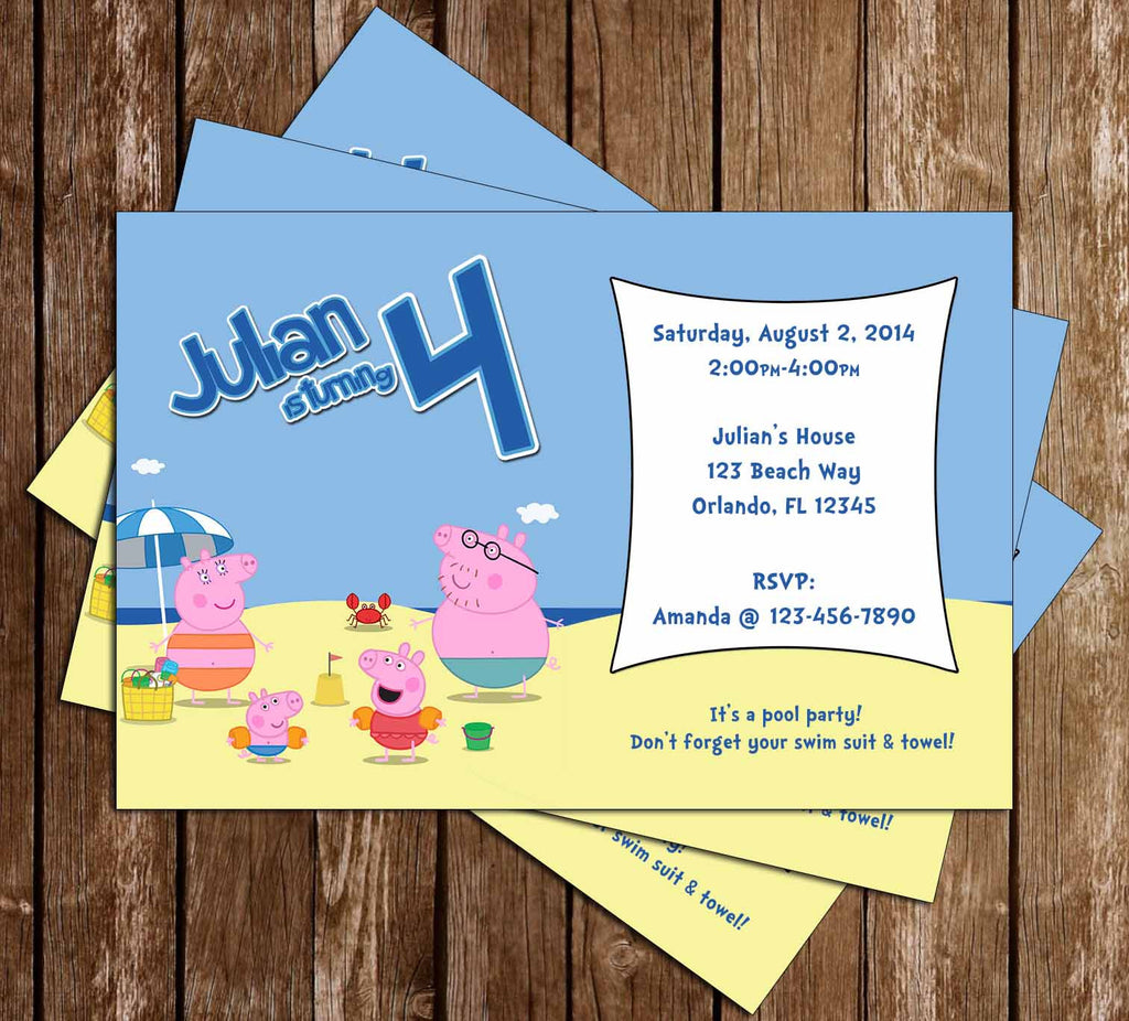 Nick Jr Peppa Pig Beach Birthday Party Invitation