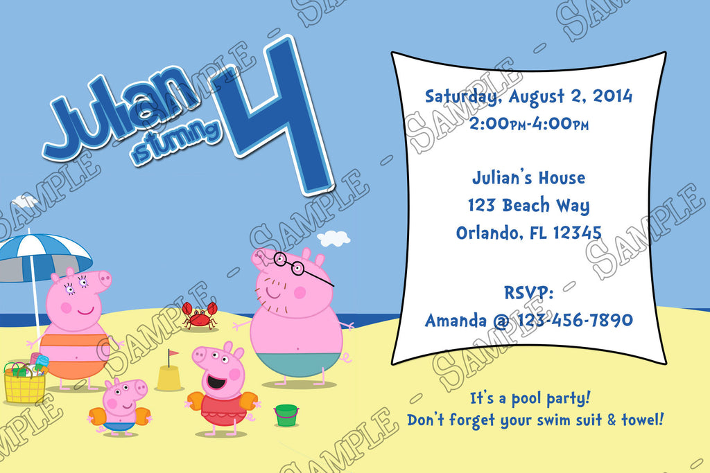 novel concept designs peppa pig beach birthday party invitation