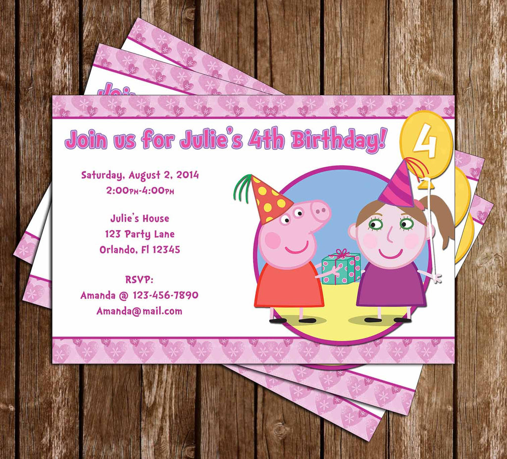 Nick Jr Peppa Pig Birthday Girl Invitation
